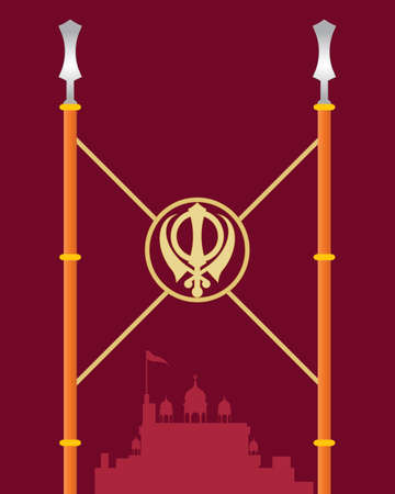 khanda: an illustration of a stylized gurdwara greeting card with symbollic spears covered in saffron color cloth on a dark red background