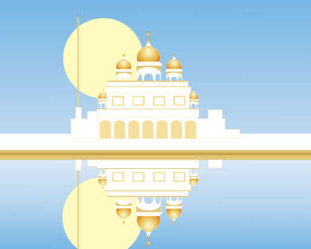 gurdwara: an illustration of a white gurdwara with golden domes reflected in a sarovar with blue sky and yellow sun Illustration