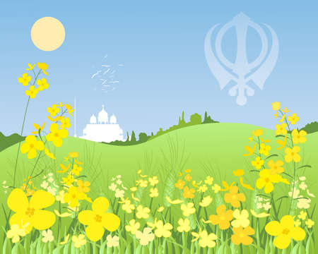 gurdwara: an illustration of a sunny punjabi landscape with green wheat and mustard crops with a white gurdwara in the distance under a blue sky