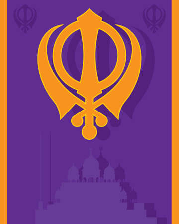 gurdwara: an illustration of a religious sikh greeting card with military emblem and gurdwara in purple and saffron colors with space for text