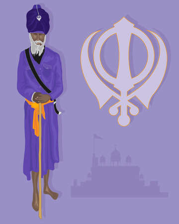 khanda: an illustration of a traditionaly dressed sikh devotee in purple and saffron colors with military emblem and gurdwara on a light purple background