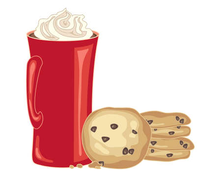 chip: an illustration of a stack of chocolate chip cookies with a tall mug of coffee and cream on a white background