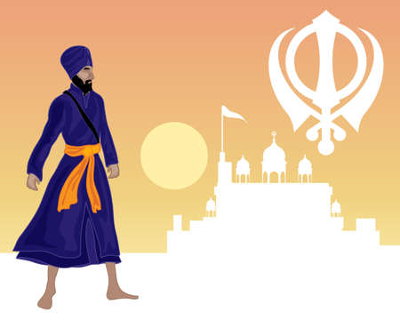 an illustration of a sikh greeting card with a white gurdwara military emblem and khalsa warrior on a sunset background Illustration