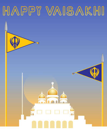 sikh: an illustration of a sikh greeting card with gurdwara and sikh flags with military emblems on a sunset background Illustration