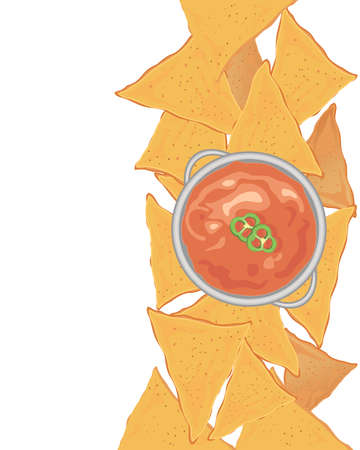 an illustration of crunchy nachos with a tangy tomato dip and pepper garnish on a white background