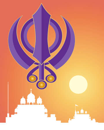 sikhism: an illustration of the holy sikh symbol in purple with white gurdwara architecture on a sunset background