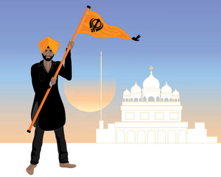 an illustration of a proud sikh man dressed in a black salwar kameez with the sikh flag nishan sahib in front of a white gurdwara at sunset Ilustração