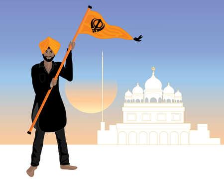 Eine Darstellung einer stolzen Sikh Mann in einem schwarzen Salwar Kameez mit der Flagge sikh nishan Sahib gekleidet in einen weißen gurdwara bei Sonnenuntergang Standard-Bild - 37738449