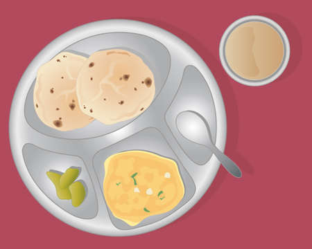 chai: an illustration of a gurdwara vegetarian meal with chapattis gobi aloo pickle and masala tea in a tin cup and plate on a dark background