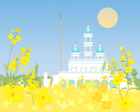 sikhism: an illustration of a white and blue rural gurdwara in amongst mustard and wheat crops under a blue sky