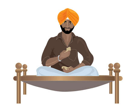 sikh: an illustration of a punjabi sikh man eating chapattis on a wooden framed bed on a white background