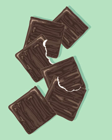 an illustration of thin chocolate after dinner mints in a scatter design with bite marks on a mint green background
