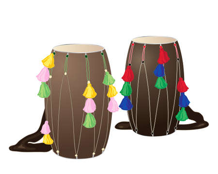 sikhism: an illustration of two punjabi drums called dhols with colorful decorations on a white background