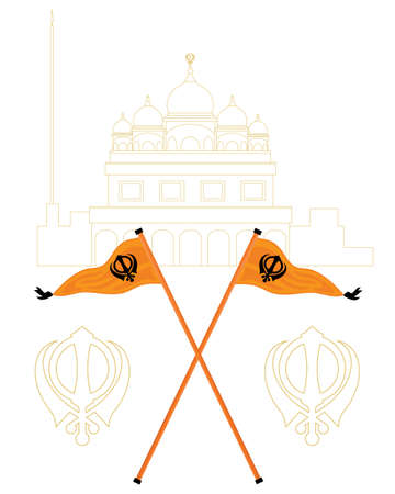 place of worship: an illustration of an abstract white and gold gurdwara with the sikh flags called nishan sahib in orange and black
