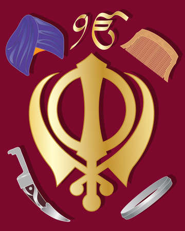 sikhism: an illustration of the holy symbol of sikhism in gold  with articles of sikh culture on a maroon background