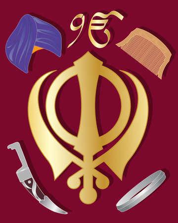 holy symbol: una ilustraci�n del s�mbolo sagrado del sijismo en oro con art�culos de cultura sikh en un fondo marr�n