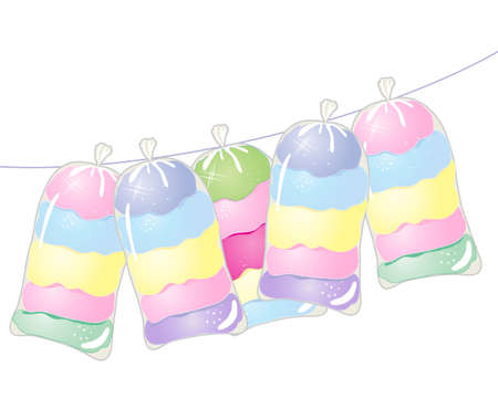 spun sugar: an illustration of a line with bags of colorful cotton candy on a white background Illustration