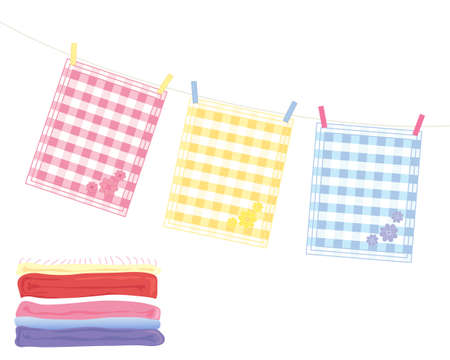 an illustration of a washing line with colorful tea towels and a stack of fresh laundry on a white background Illustration