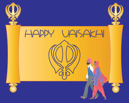 salwar: an illustration of a sikh greeting card with purple and saffron parchment and the words happy vaisakhi and a sikh couple on a purple background