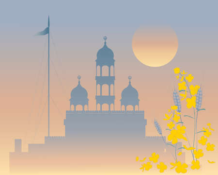 sikhism: an illustration of a beautiful sikh gurdwara on a misty evening with a sunset sky and mustard and wheat plants in the foreground Illustration