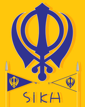 khanda: an illustration of sikh insignia with military emblem the nishan sahib flags and the word sikh on a saffron background