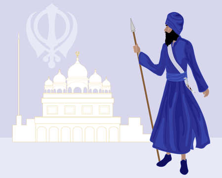 sikhism: an illustration of a khalsa sikh standing in front of a gurdwara wearing blue clothing and holding a spear on a purple background Illustration