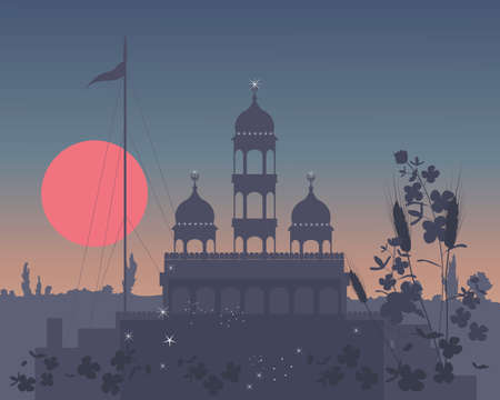 sikhism: an illustration of a rural gurdwara at night with sparkling lights and big red sun under a dark sky