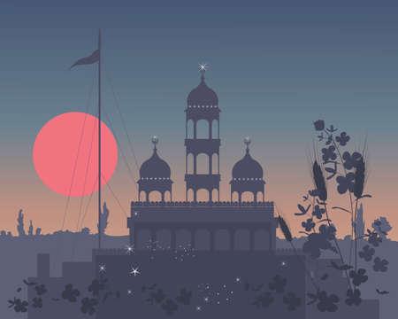 gurdwara: an illustration of a rural gurdwara at night with sparkling lights and big red sun under a dark sky