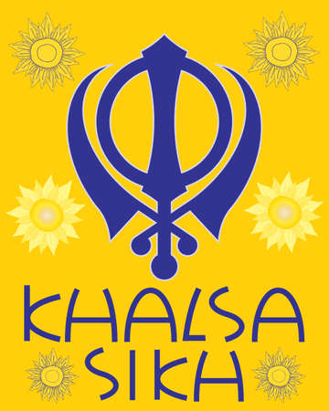 khanda: an illustration of a sikh greeting card with military emblem sunflowers and the words khalsa sikh in blue with a saffron background