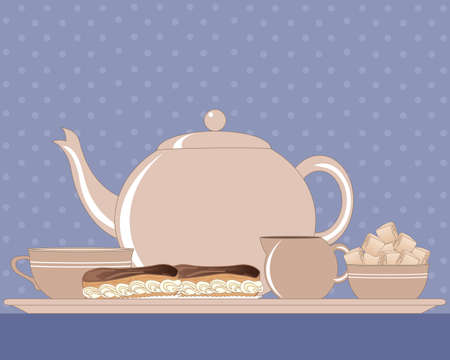 milk jug: an illustration of an afternoon tea tray with teapot milk jug sugar bowl cup and two chocolate eclairs on a blue tablecloth and spotty background