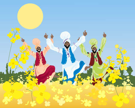 folk dance: an illustration of a three colorful bhangra dancers in a punjabi landscape with mustard crop under a blue sky