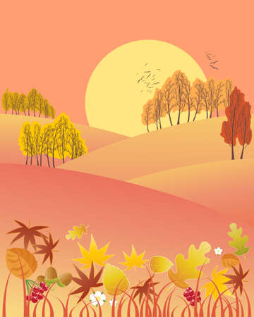 red sky: an illustration of an evening autumn fall landscape with colorful trees leaves and a big sun on a red sky