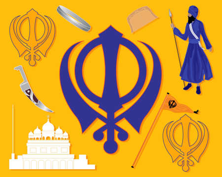 sikh: an illustration of elements from sikh history with gurdwara khalsa sikh military emblem flag bracelet comb and kirpan on a saffron background