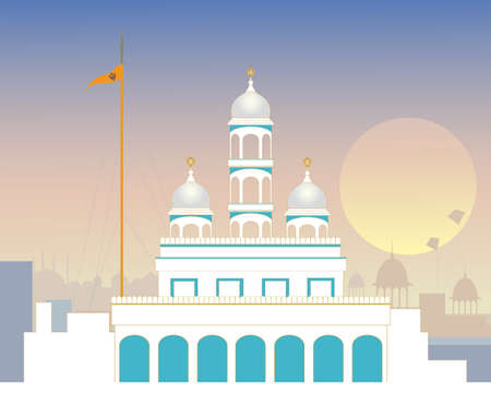 sikhism: an illustration of a beautiful urban sikh gurdwara in the evening with the nishan sahib flag in front of a punjabi skyline