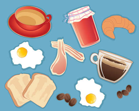 associated: an illustration of a food and beverages traditionally associated with breakfast including tea coffee jam croissant toast bacon and egg