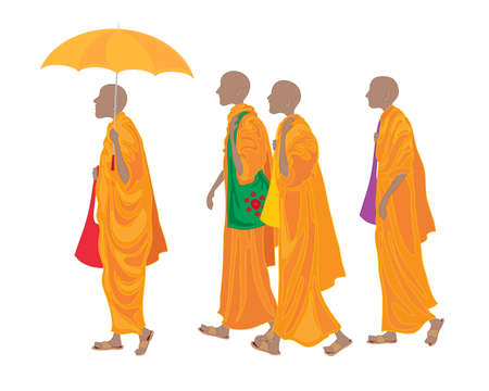 devout: an illustration of a line of buddhist monks walking along wearing traditional orange robes with colorful bags umbrella and sandals on a white background