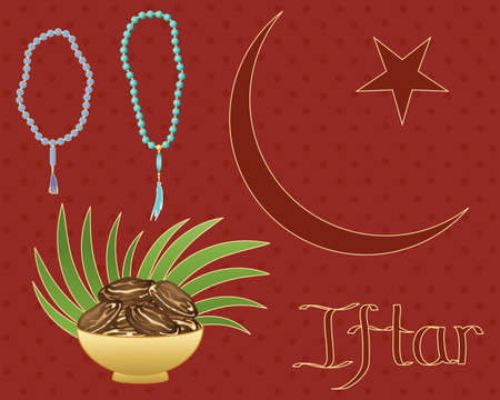 an illustration of a ramadan greeting card with bowl of dates rosary beads and islamic symbol on a maroon spotty background