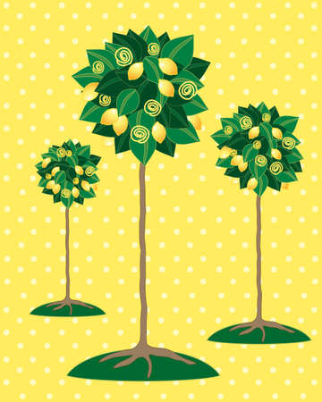 an illustration of stylized lemon trees with fruit and foliage on a yellow spotty background