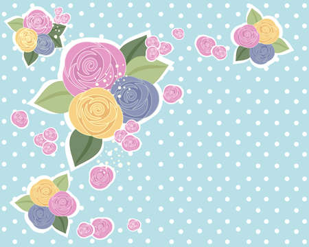 desaturated colors: an illustration of a rose design in vintage colors with foliage on a desaturated blue spotty background