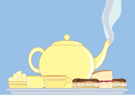 for tea: an illustration of a tray with steaming teapot milk jug sugar bowl cup and delicious cakes on a white tablecloth ready for an english afternoon tea on a blue background