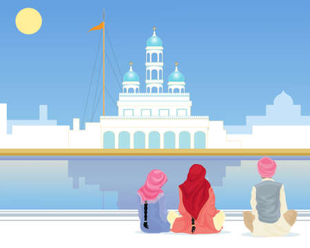 gurdwara: an illustration of a gurdwara with a sarovar and pilgrims sitting on the marble walkway under a blue sky in the punjab