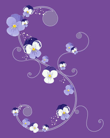 pansy: an illustration of a greeting card design with swirls and pansy flower heads on a purple background