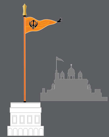 khanda: an illustration of the sikh flag called nishan sahib on a white marble pedestal with abstract gurdwara on a gray background