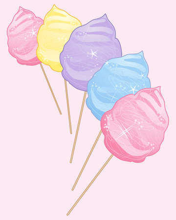 spun sugar: an illustration of delicious sweet cotton candy in pink yellow purple and blue colors on a light pink background