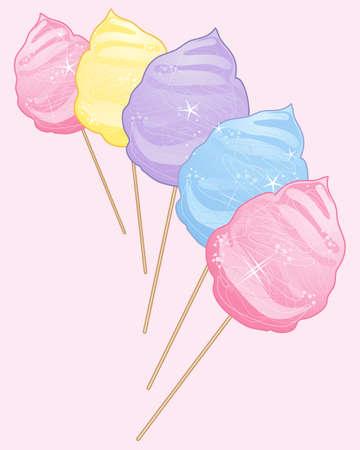 cotton candy: una ilustraci�n de algod�n de az�car delicioso dulce en rosa amarillo colores p�rpuras y azules sobre un fondo rosa claro