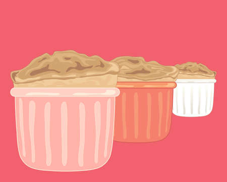 an illustration of three souffle desserts in ramakins on a bright pink background