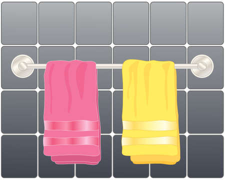 hygeine: an illustration of a modern steel towel rail with bright pink and yellow towels in front of dark glossy tiles
