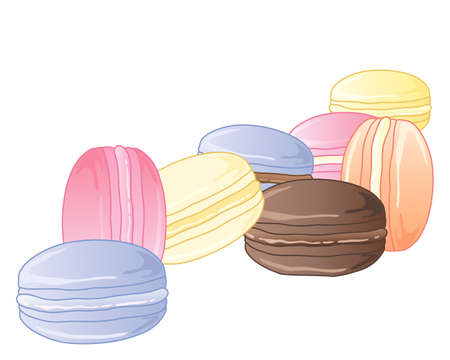 macaroon: an illustration of colorful macaroon meringues with cream inside on a white background