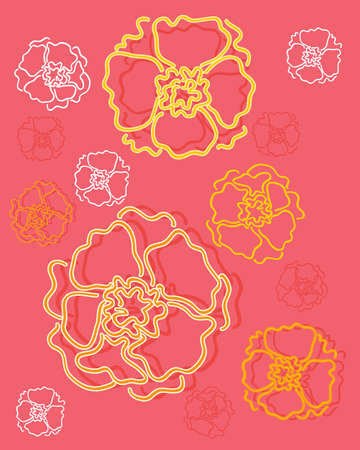 garden marigold: an illustration of an abstract marigold flower design on a red background
