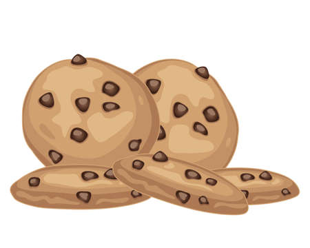 crunches: an illustration of a pile of delicious choc chip cookies on a white background Illustration